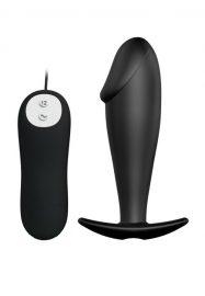 Naudi vapustavat anaalstimulatsiooni selle peenisekujulise silikoonist vibraatoriga. Vibratsioonivalik on kaugjuhtimispuldist reguleeritav